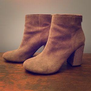 Beautiful Gray Suede Booties with Bedazzled Heels